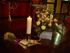 candle, flowers, wooden, floor