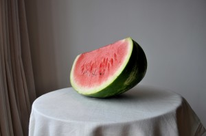 cut, watermelon, table