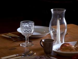 Meja, makan malam, pengaturan