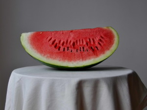 watermelon, white, table
