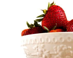bianco, ceramica ciotola, vitamina, frutta, fragole