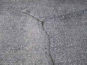 concrete, cracked