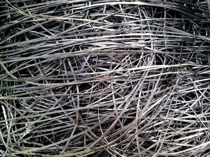 metal, shavings, strips