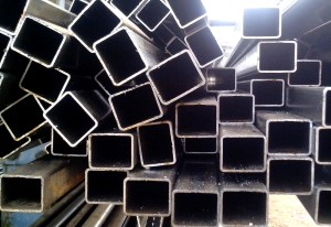 rectangular, metal, tuberías, apilados