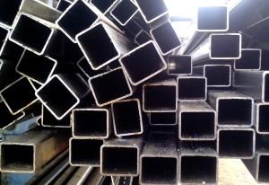 rectangular, metal, pipes, stacked