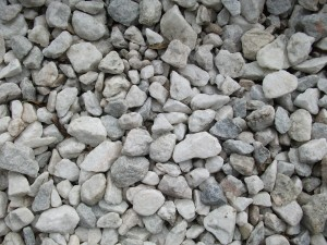 white, gray, gravel, various, shapes, sizes
