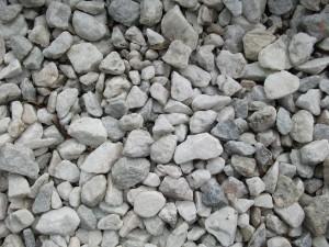 white, gray, gravel, various, shapes, sizes