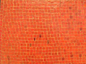 orange, Mosaik, Wand