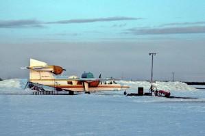luft, flyvemaskine, vinter