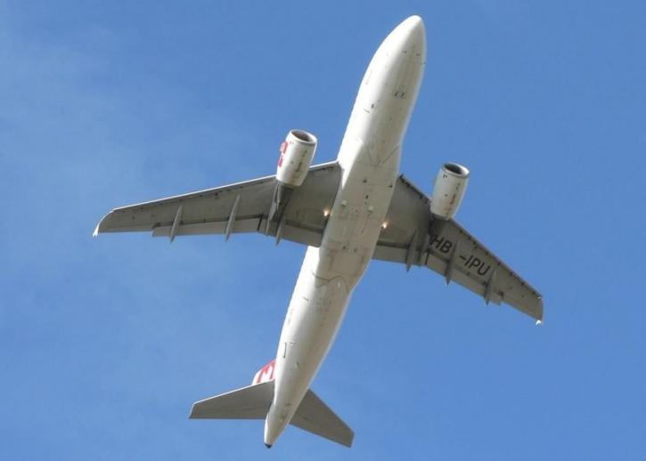 avion, polijetanje, plavo, nebo