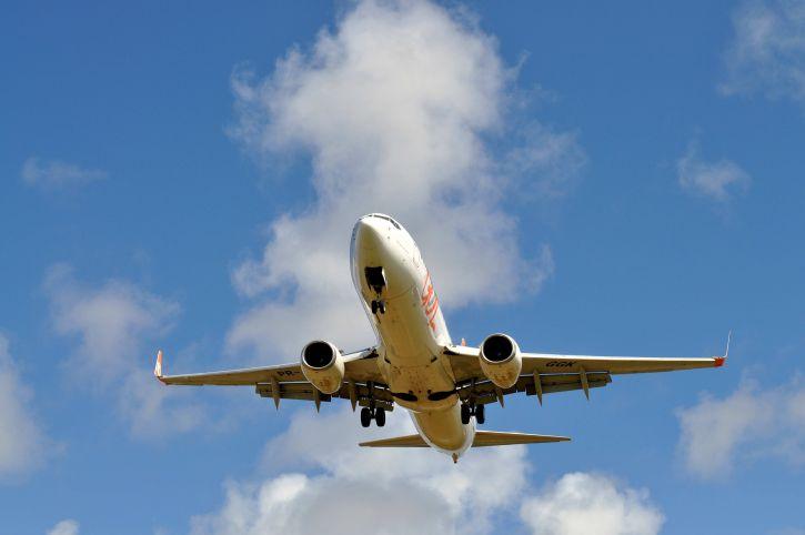 civilní, osobní, letadlo, obloha