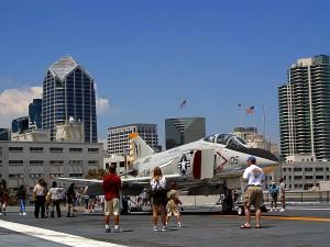 combattants, le pont, à mi-chemin, avions, transporteur