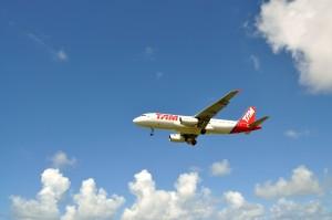 passagier, vervoer, vliegtuig, hemel