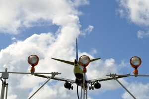 avión, toma, aeropuertos, navegación, luces