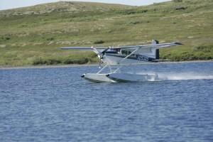 flotador, avión, aterrizaje, lago