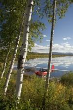 avião, jato de água, lago