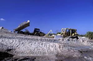 bulldozer, camion, travaux