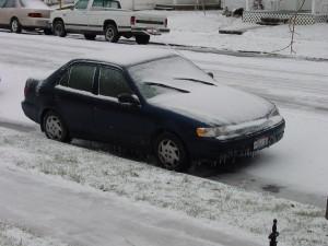 snowed, car