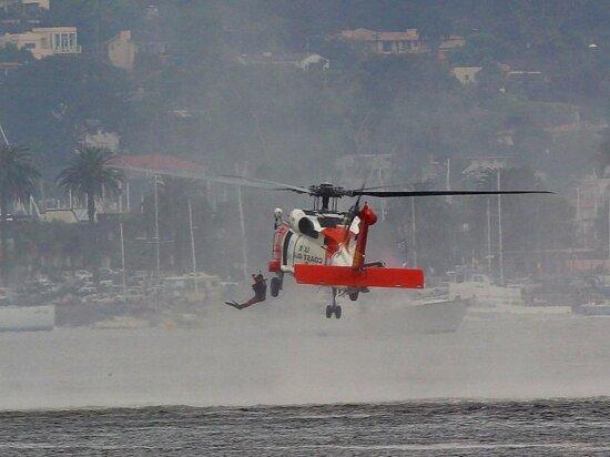 побережье, охранник, вертолеты, водолазов, прыжки