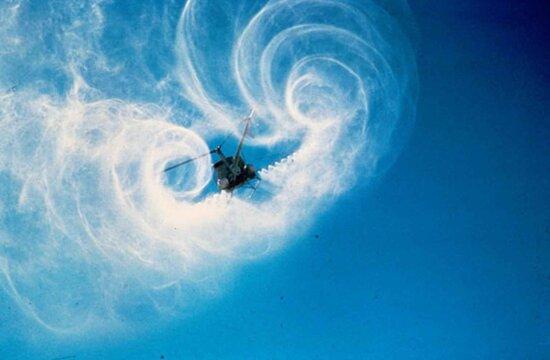 вертолет, опрыскивания, небо