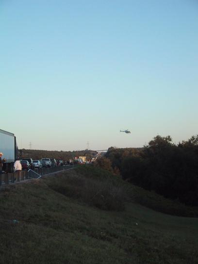 Медицинская эвакуация, вертолет, оставляя, сцена, аварии