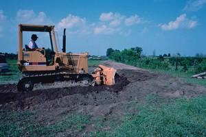 terres, nivellement, bulldozer