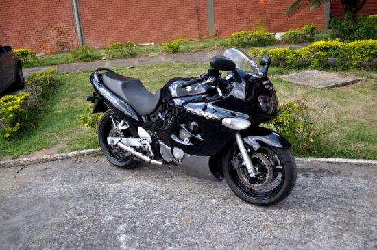 black, motor, motorcycle, Suzuki, parking lot