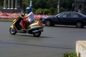 moto, pilote, rue