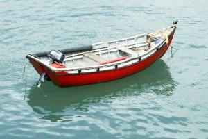 μόνος, βάρκα, νερό, επιφάνειας