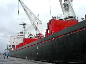 velké, nákladu, loď, doku