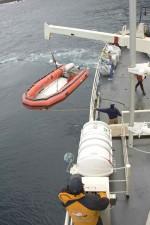 grande, nave, offload, skiff, barca