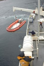 big, ship, offloads, skiff, boat