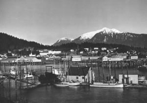 bateau, port, snowcaped, montagnes, fond