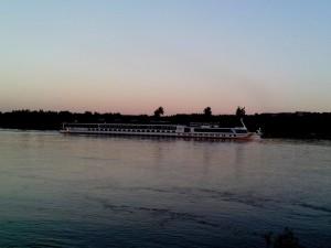 boat, Danube, river, dusk