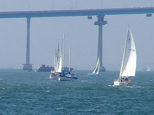 bridges, bays, coronado, sailboats, ocean, sails