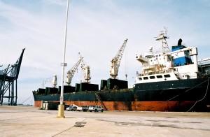 cargaison, bateau, amarré, Galveston, port, en attendant, laissez, chargé, cargaison