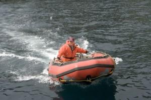 garde-côtes, employé, bateau, skiff