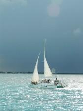 du thuyền white, thuyền buồm, ngày nắng