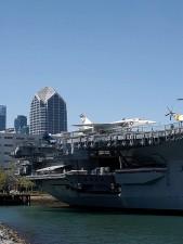 à mi-chemin, avions, transporteur, amarré, San Diego
