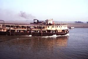 rueda de paletas, vapor, viajado, Bangladeshs, Meghna, río
