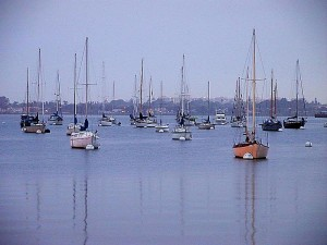 Diego, bay, sailboats