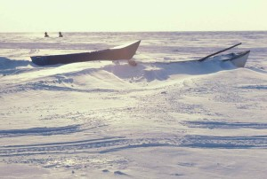 petit, kotzebue, bateaux, couvert, neige, hiver