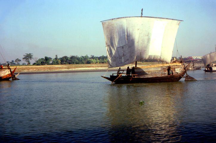 cuadrado, aparejado, velero, movido, Bangladeshs, Meghna, río