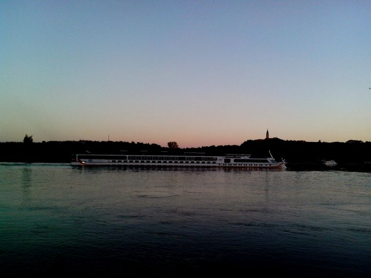 white, tourist, ship, river