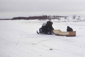 snowmobile, pulling, boat, snow