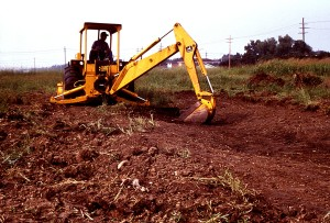 gasoline, powered, back, excavate, draining, swale, area