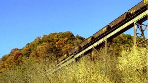 empty, coal, cars, going, trestle