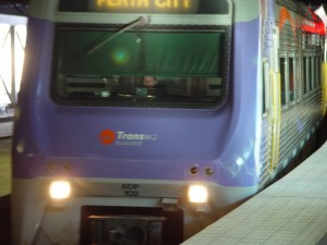 australind, arrives, Perth, railway, station