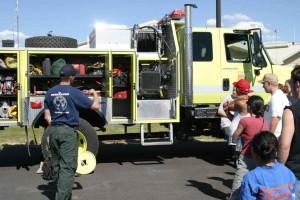 brann, lastebil, utstyr, brann, utstyr