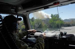 brandslukning, besætning, brand, lastbil, op med at reagere, brand